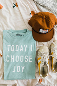 Ramble and Company's today i choose joy unisex soft comfortable inspirational graphic t-shirt in harbor grey flat lay