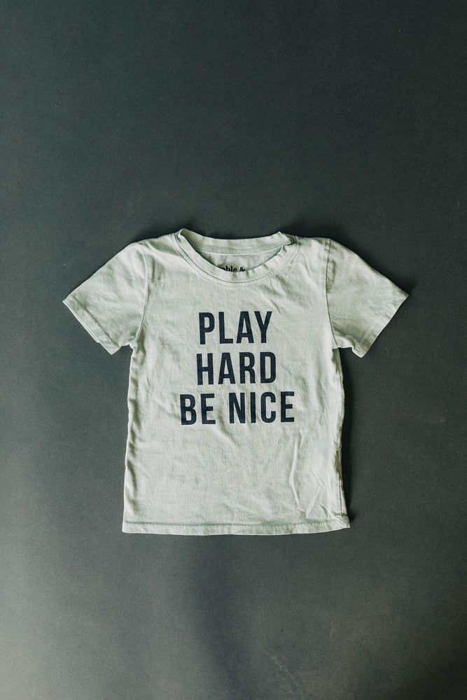 Play Hard Be Nice Kids Tee in Mint | USA Made Collection-Ramble and Company-kids graphic tees-usa made-positive bold kids tees