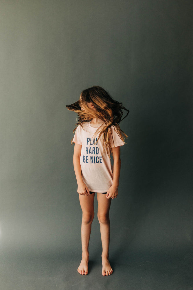 Play Hard Be Nice Kids Tee in Rosewood | USA Made Collection