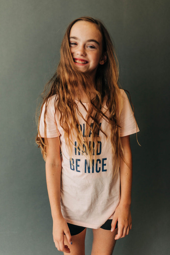 Play Hard Be Nice Kids Tee in Rosewood | USA Made Collection-Ramble and Company-kids graphic tees-usa made-positive bold kids tees