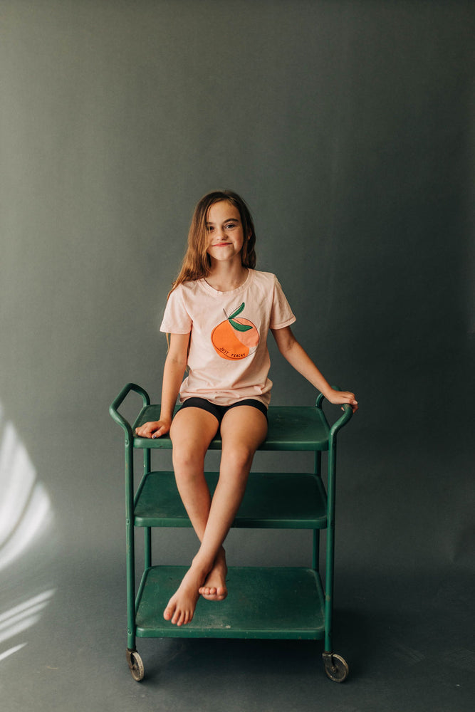 Just Peachy Kids Tee | USA Made Collection-Ramble and Company-kids graphic tees-usa made-positive bold kids tees