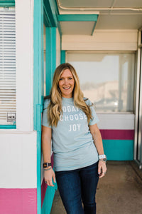 woman wearing Ramble and Company's today i choose joy unisex soft comfortable inspirational graphic t-shirt in harbor grey front view