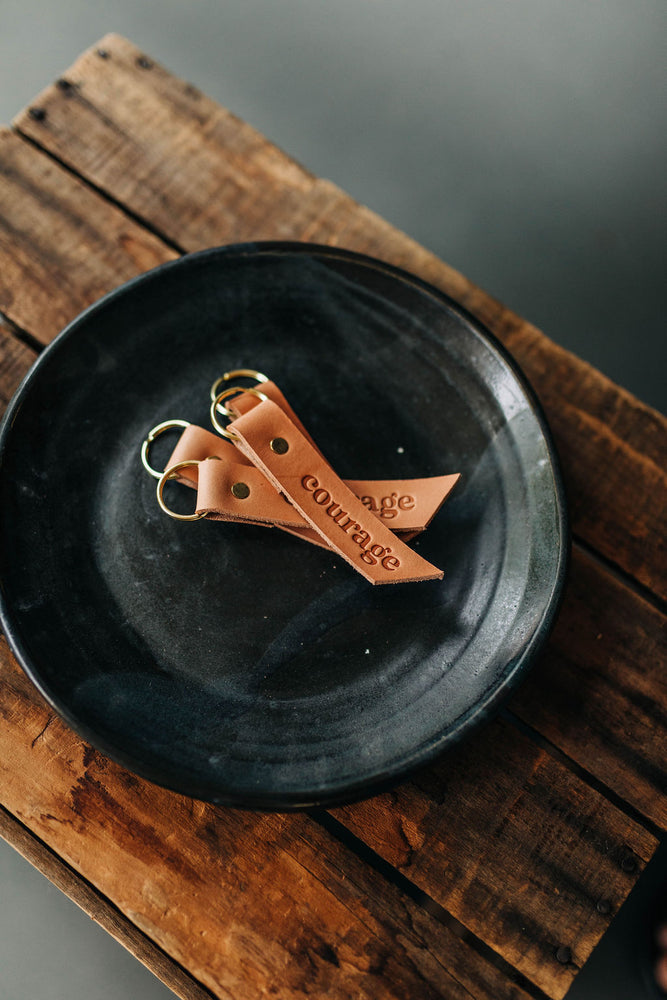 courage | leather key fob