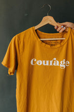 the courage everyday tee by Ramble & Company || USA Made || shop now at rambleandcompany.com or visit our storefront in downtown Wichita Falls, Texas || soft inspirational graphic t-shirts