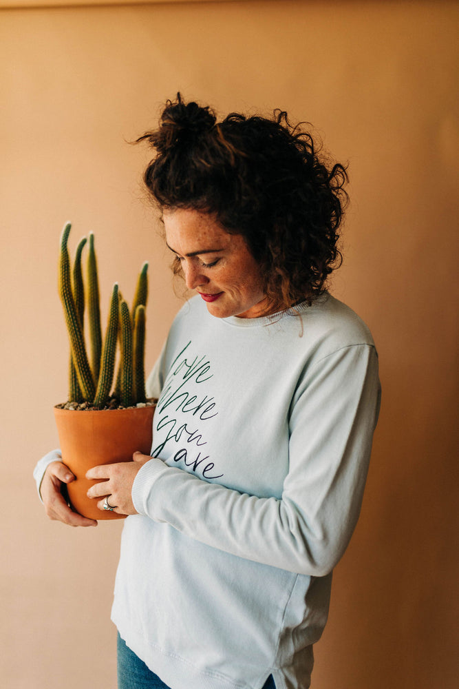 the basic side slit in milky green by Ramble & Company || shop now at rambleandcompany.com or visit our storefront in downtown Wichita Falls, Texas || soft inspirational graphic and blank sweatshirts and t-shirts