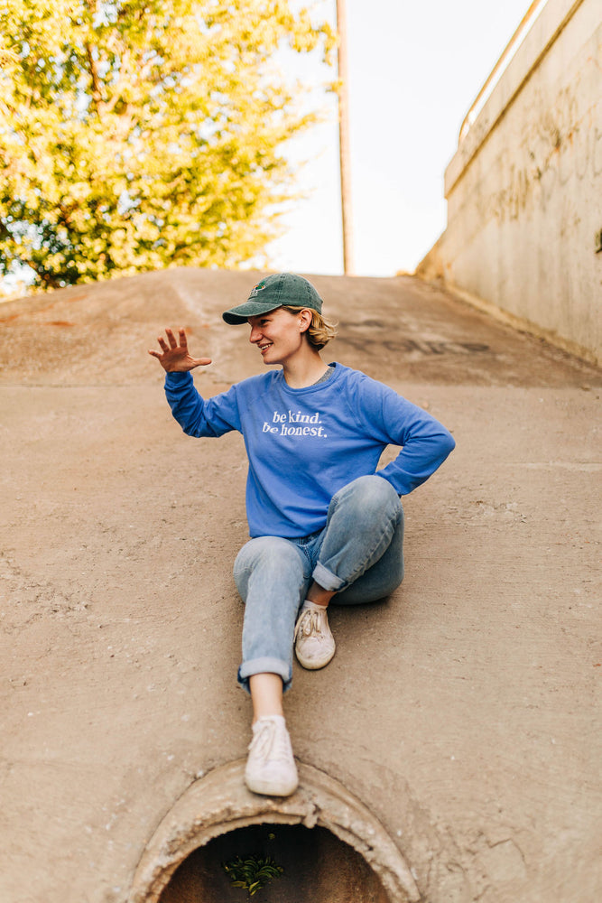 the basic raglan in wedgewood by Ramble & Company || shop now at rambleandcompany.com or visit our storefront in downtown Wichita Falls, Texas || soft inspirational graphic and blank sweatshirts and t-shirts