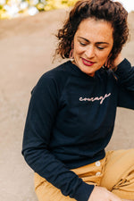 the courage raglan sweatshirt by Ramble & Company || shop now at rambleandcompany.com or visit our storefront in downtown Wichita Falls, Texas || soft inspirational graphic sweatshirts and t-shirts