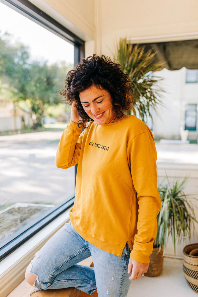 the good times ahead side slit sweatshirt by Ramble & Company || shop now at rambleandcompany.com or visit our storefront in downtown Wichita Falls, Texas || soft inspirational graphic sweatshirts and t-shirts