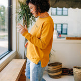 the basic side slit in golden spice by Ramble & Company || shop now at rambleandcompany.com or visit our storefront in downtown Wichita Falls, Texas || soft inspirational graphic and blank sweatshirts and t-shirts