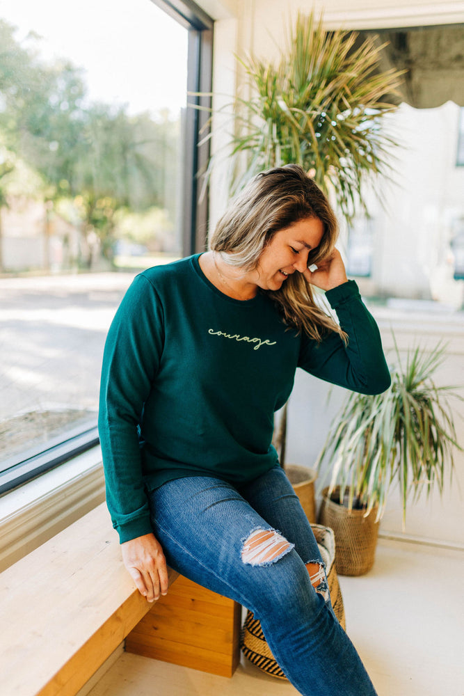 the courage side slit sweatshirt by Ramble & Company || shop now at rambleandcompany.com or visit our storefront in downtown Wichita Falls, Texas || soft inspirational graphic sweatshirts and t-shirts
