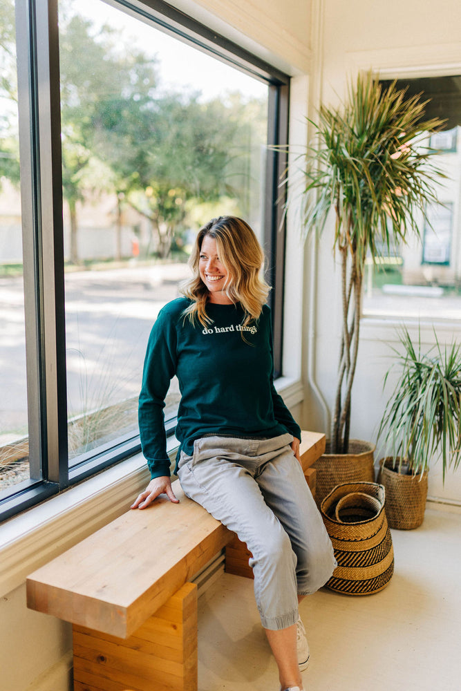 the do hard things side slit sweatshirt by Ramble & Company || shop now at rambleandcompany.com or visit our storefront in downtown Wichita Falls, Texas || soft inspirational graphic sweatshirts and t-shirts