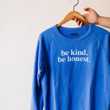 the be kind raglan sweatshirt by Ramble & Company || shop now at rambleandcompany.com or visit our storefront in downtown Wichita Falls, Texas || soft inspirational graphic sweatshirts and t-shirts