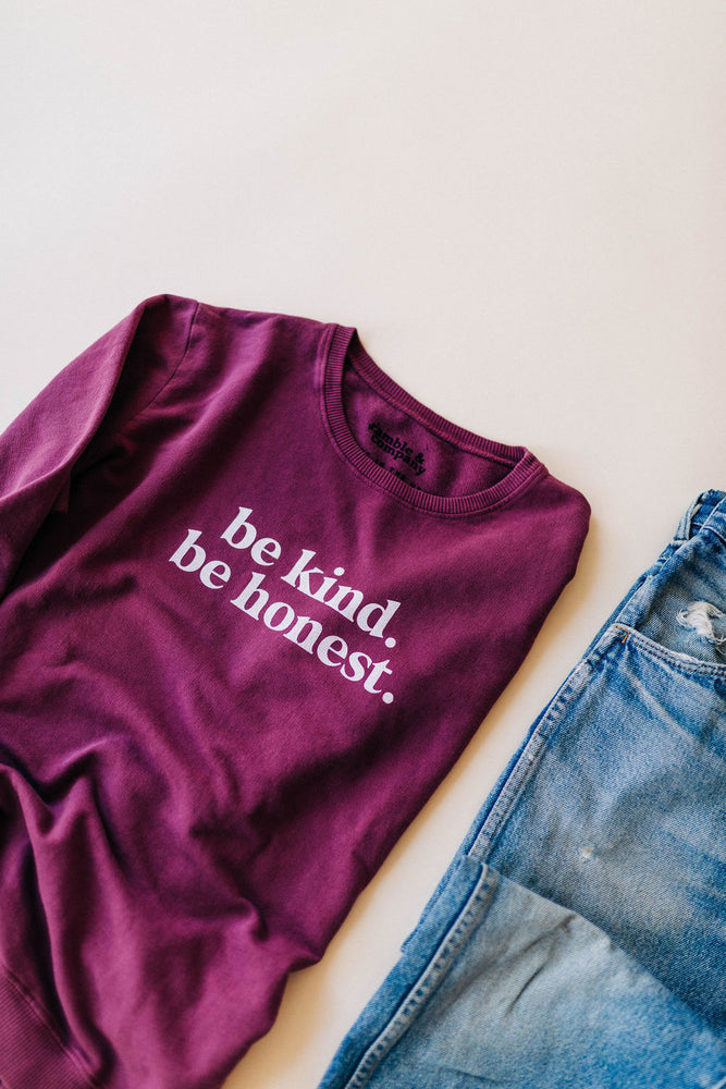 the be kind side slit sweatshirt by Ramble & Company || shop now at rambleandcompany.com or visit our storefront in downtown Wichita Falls, Texas || soft inspirational graphic sweatshirts and t-shirts