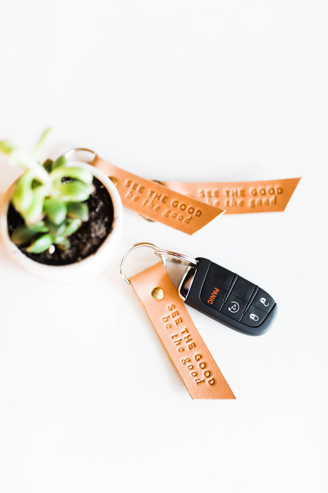 see the good | leather key fob