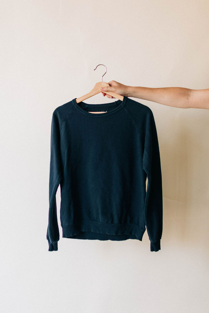 the basic raglan in blue graphite by Ramble & Company || shop now at rambleandcompany.com or visit our storefront in downtown Wichita Falls, Texas || soft inspirational graphic and blank sweatshirts and t-shirts