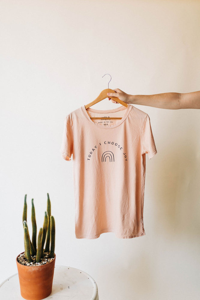 markdown | the choose joy rainbow tee cream tan