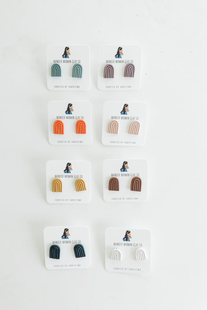 solid colored rainbow clay stud earrings by Wander Women Clay Co. + Ramble & Company || shop now at rambleandcompany.com or visit our storefront in downtown Wichita Falls, Texas || soft inspirational graphic t-shirts