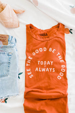 the see the good everyday tee by Ramble & Company || USA Made || shop now at rambleandcompany.com or visit our storefront in downtown Wichita Falls, Texas || soft inspirational graphic t-shirts || wholesale available