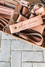 Leather Key Fob | Slow Down, Look Around - ramble-and-company.myshopify.com - Accessories
