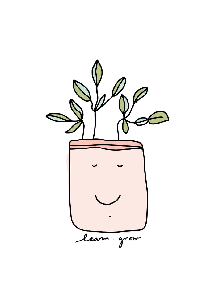 learn + grow | sticker