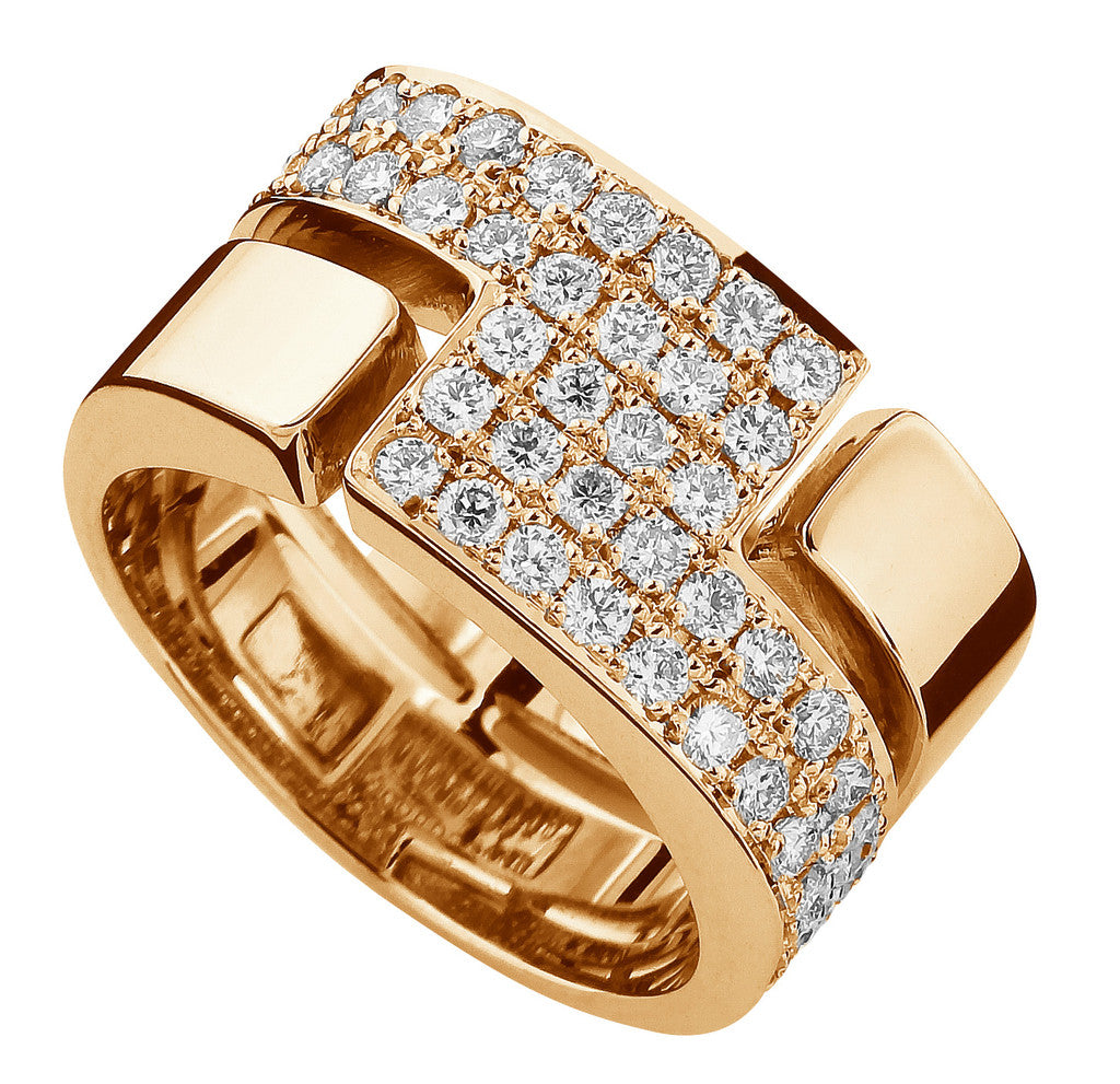 18-karat yellow gold ring set with 48 brilliant cut diamonds.