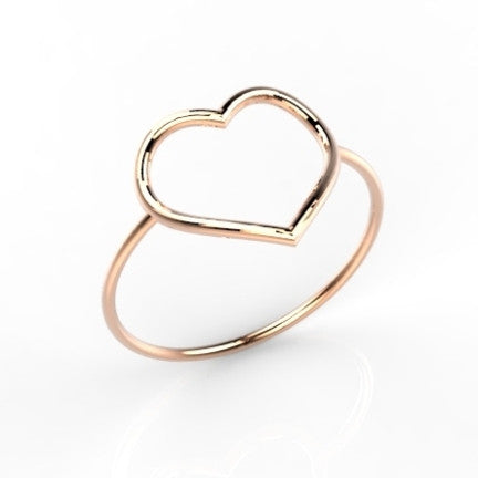 Ring & open Heart 14k goud