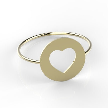 Coin ring and Heart 14k goud