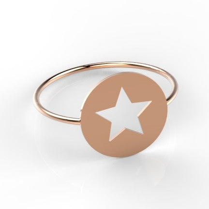 Coin ring and Star 14k goud