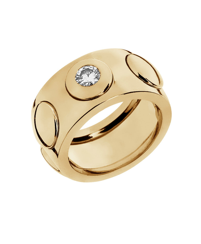 18-karat yellow gold ring of 10 mm wide with one diamond. Also available in 18 karat white & rose gold.