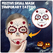 Load image into Gallery viewer, Festive Skull Mask Temporary Tattoo