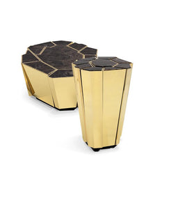 Crackle Marble Side Table - Luxury Marble Furniture