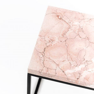 Rosa Pillar Marble Side Table