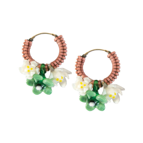 Floral Glass Hoops