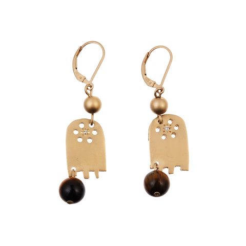Hamsa Charm Earring Tiger Eye