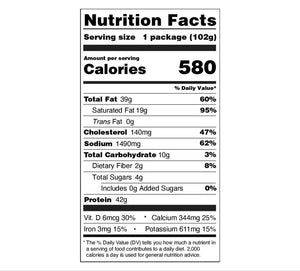 Backpacking Meals - Nutrition Facts - Italian Meatball