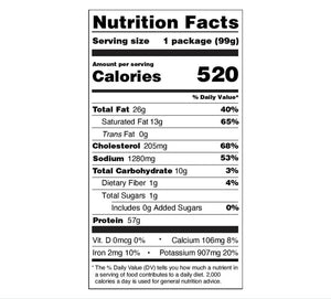 Backpacking Meals - Nutrition Facts - Buffalo Ranch Chicken