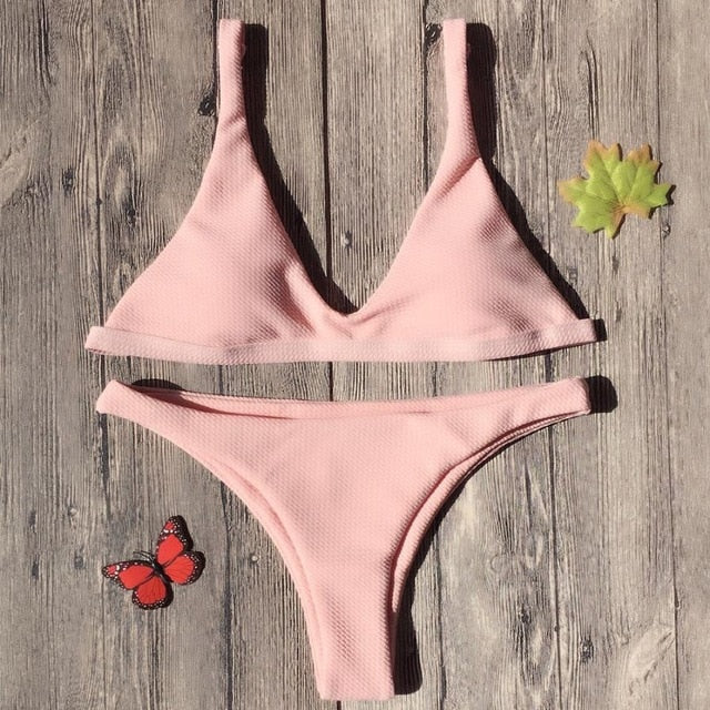 Single Colour Bandage Bikini Set Padded Bra