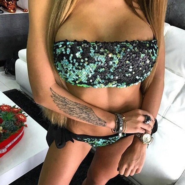 Bling Sequin Halter Swimsuit