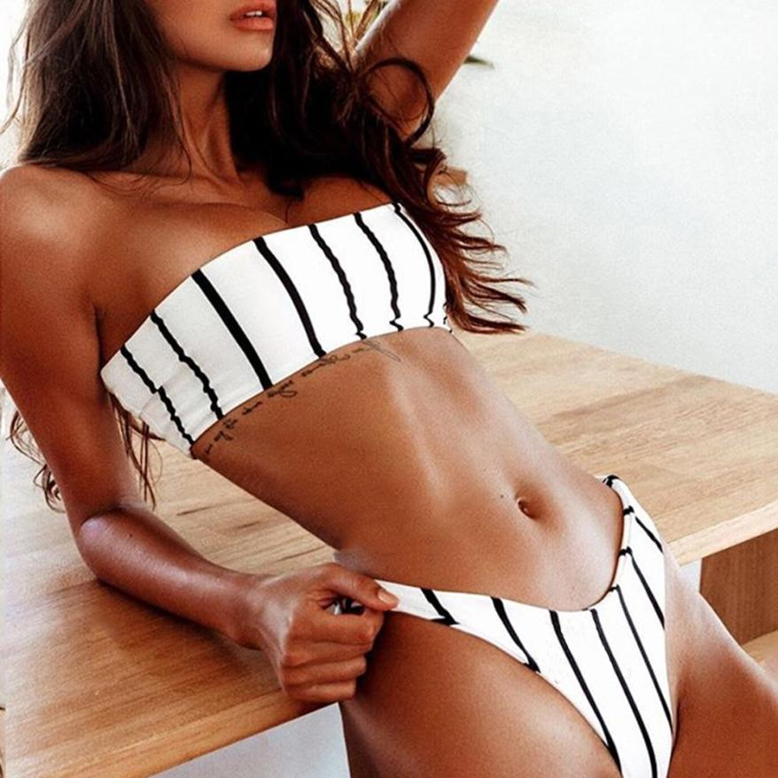 Sexy Stripe Tube Bikini Set (Push-Up)