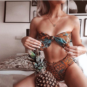 Enchanting Printed Pleated Bow-Knot Swimwear