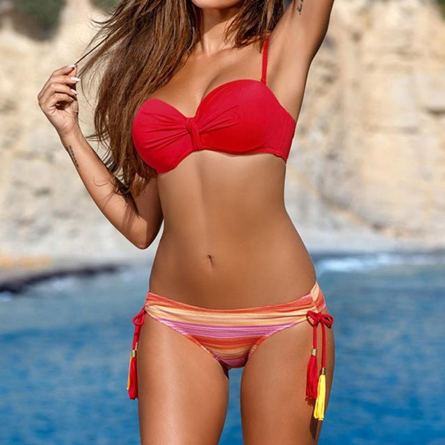 Bright Color Bikini Set (Push Up)