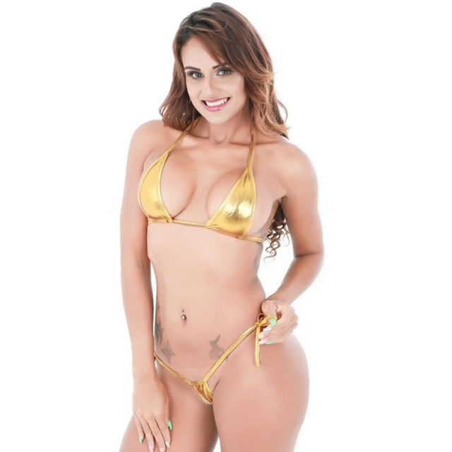 Eye-Catching Shiny Micro Halter Top + G-String Bikini