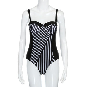 Striped Plus Size Swimsuit (Push Up)