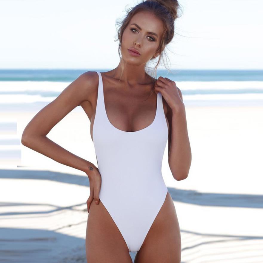 Single Colour Backless Swimsuit
