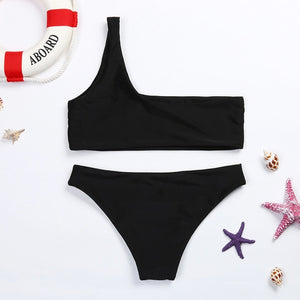 One Shoulder Waisted Bralette Swimsuit