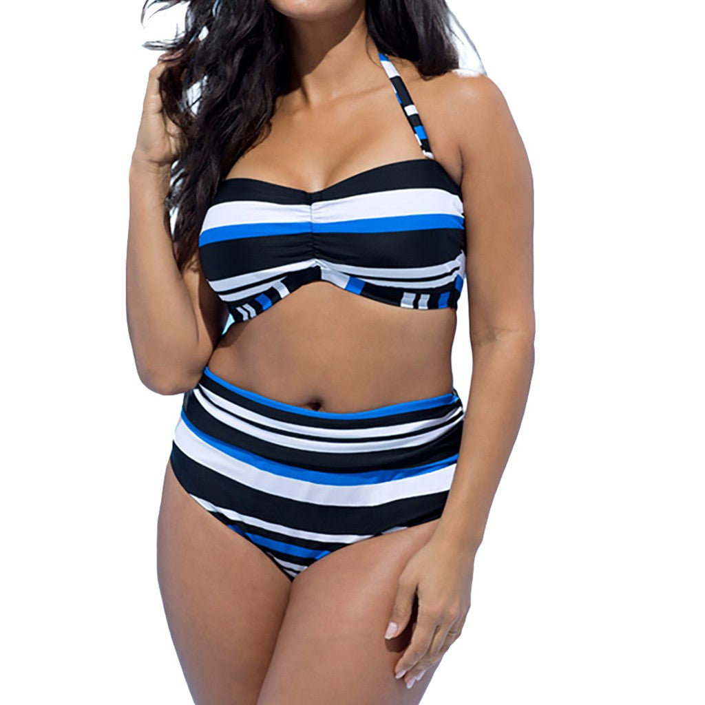 Plus Size Striped Split Swimsuit