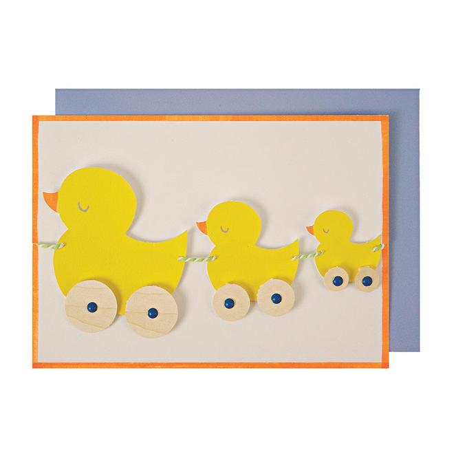 Duck Pullalong Garland Greeting Card