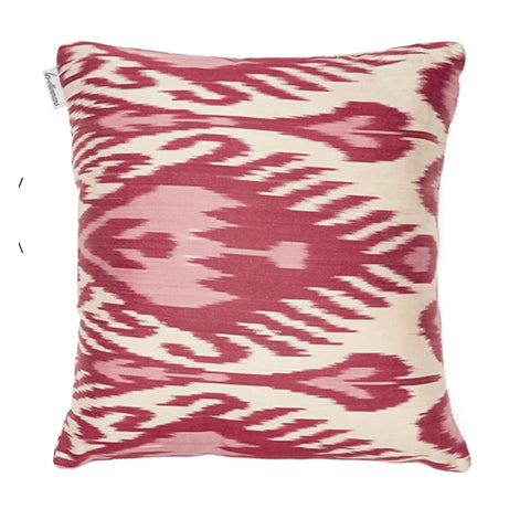 silk ikat cushion, pink/red 40x40