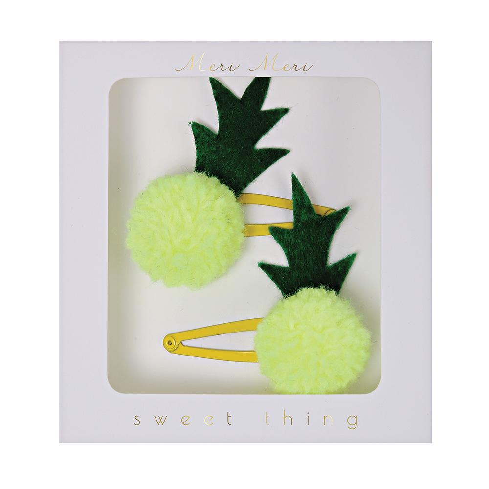 Pineapple Pompom Hair Clips