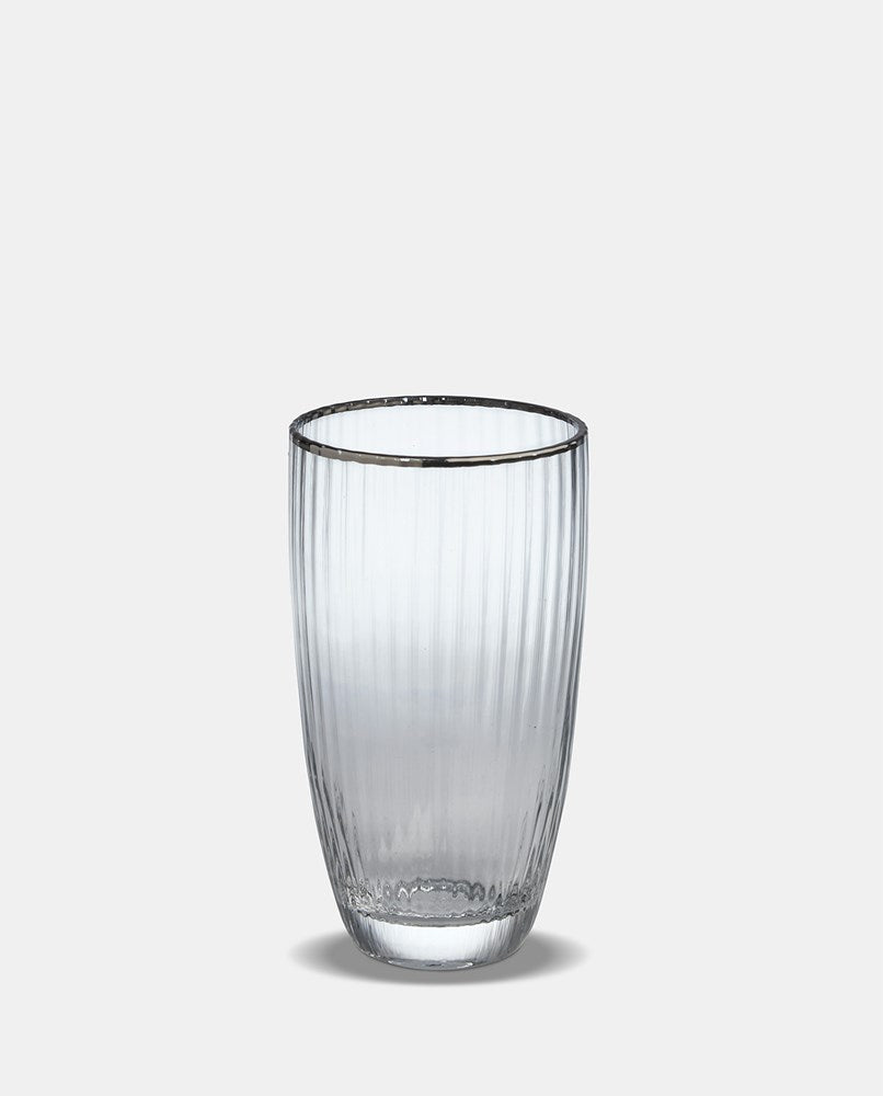 Italia Silver Rim High Ball Glass